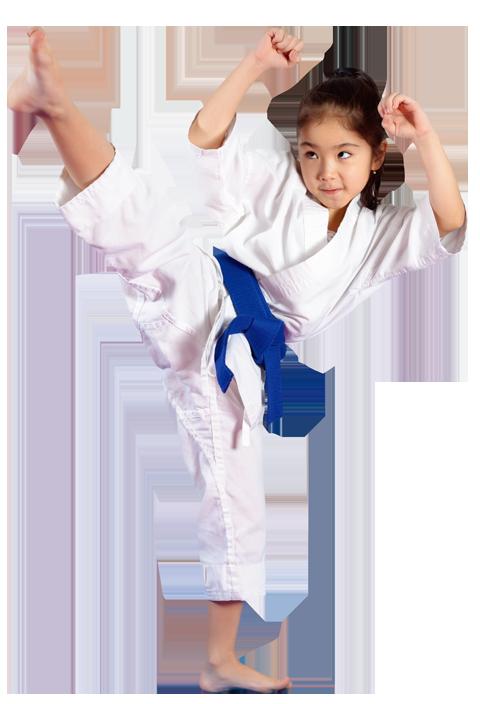 Preschool girl high kicking