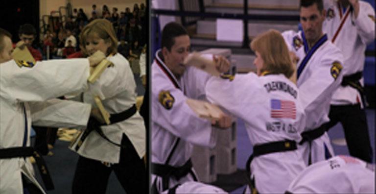 Master Amanda Olson breaking boards